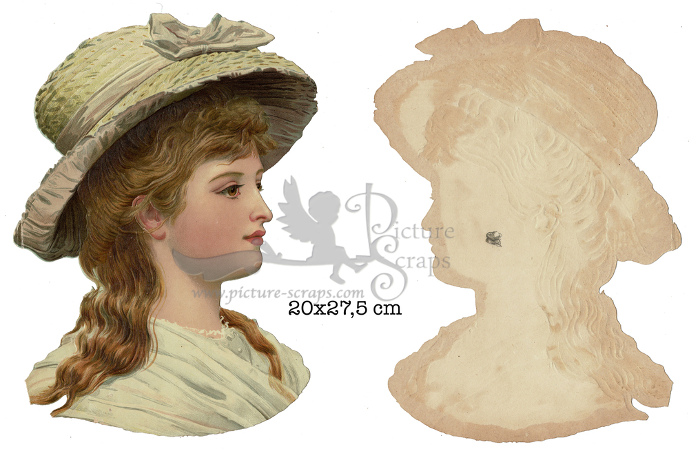 Large large scrap victorian lady with hat
