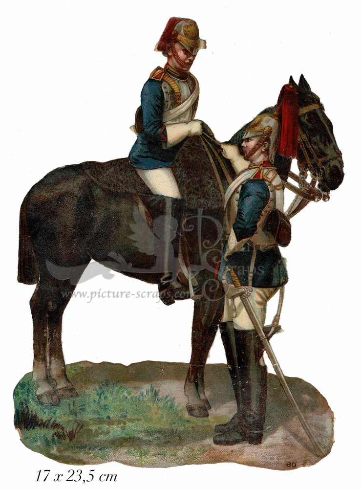 Large large scrap 2 soldiers with horse
