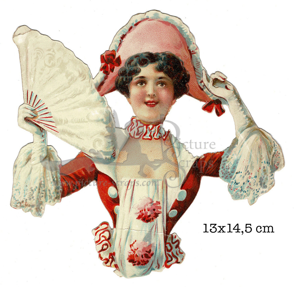 Large large scrap card lady with fan and hat