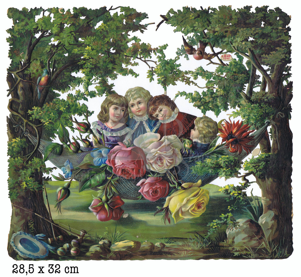Large large scrap nature with victorian children