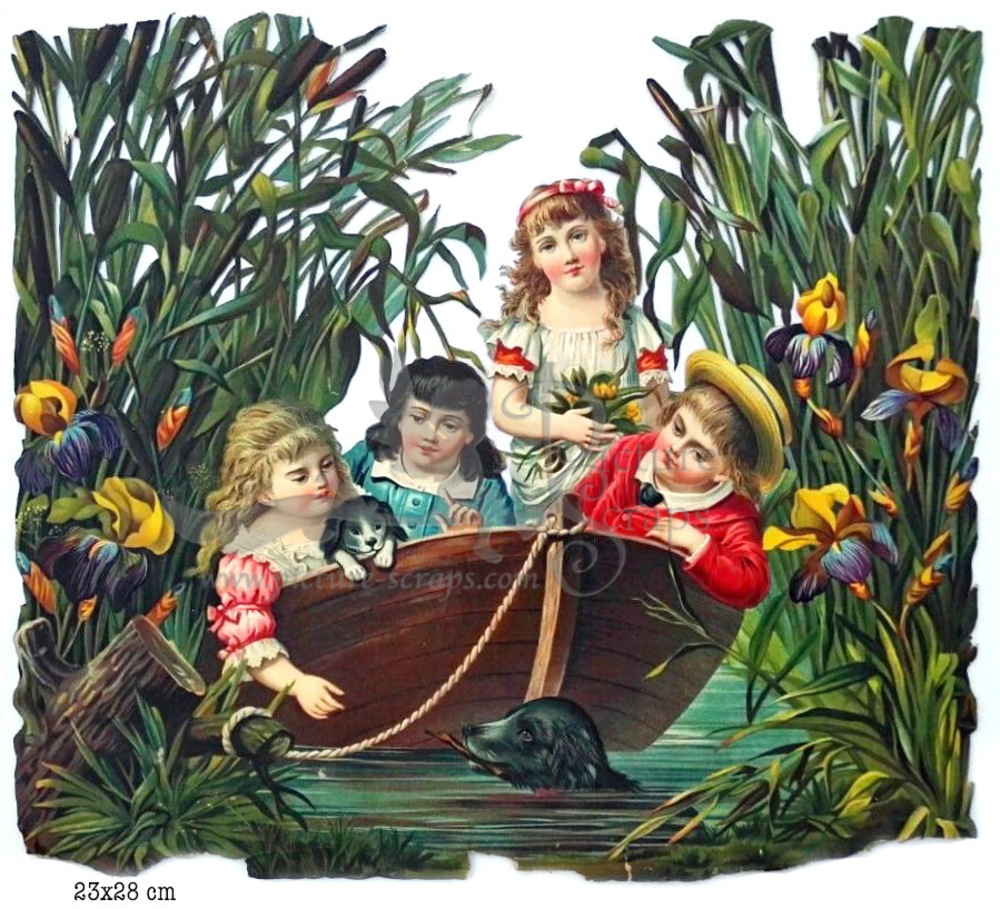 Large large scraps victorian children in boat