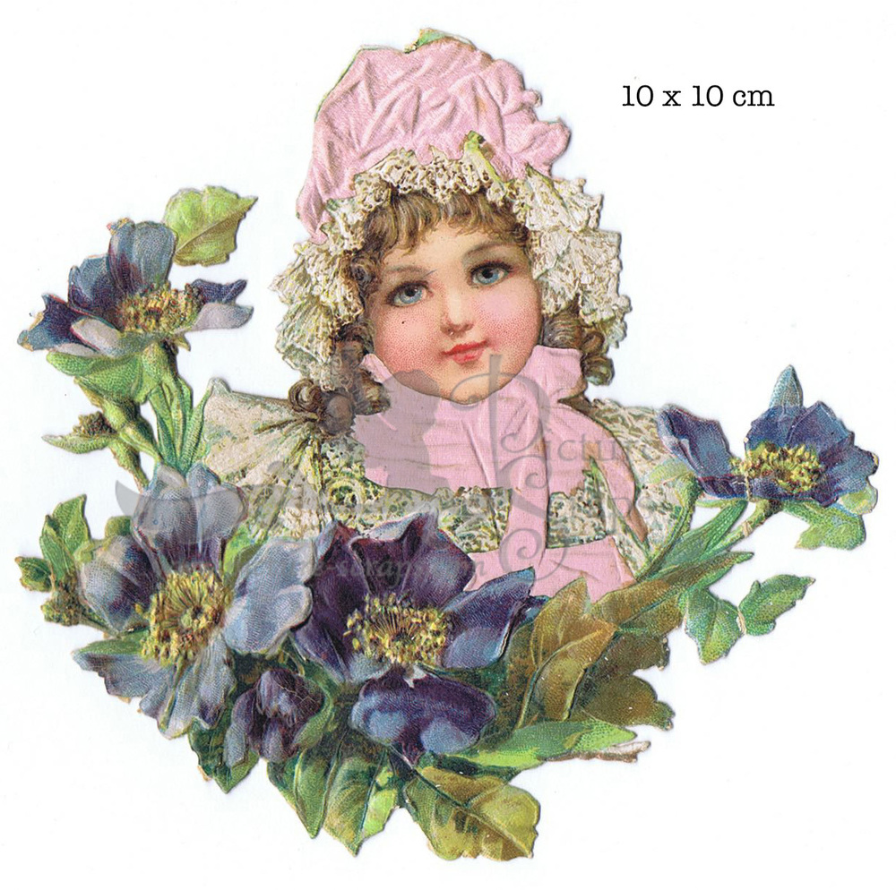 Large silk scrap girl with bonnet 1