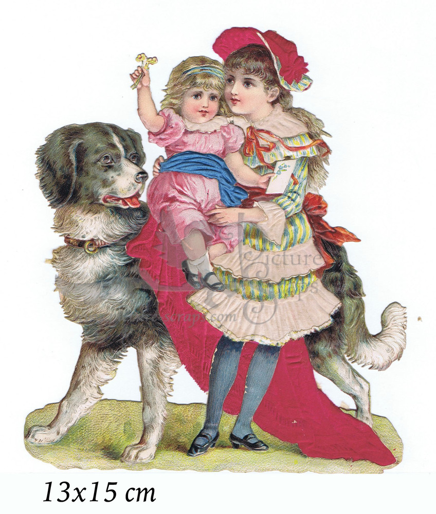 Large silk scrap girls with dog