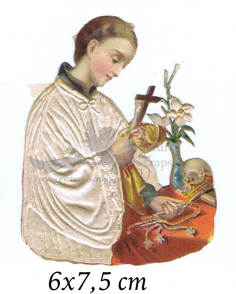 Large silk scraps religious woman