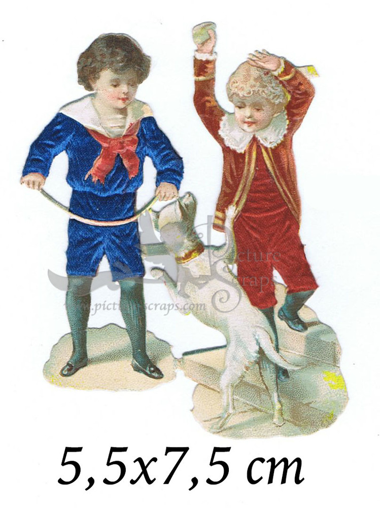 Large silk scraps two boys with dog