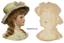 Small large scrap victorian lady with hat