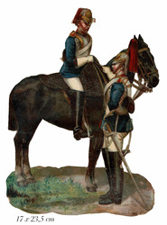 Small large scrap 2 soldiers with horse