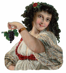 Small large scrap gipsy girl with grapes