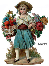 Small large scrap girl with flowers