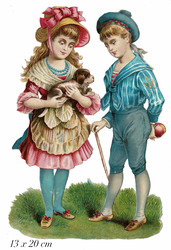 Small large scrap victorian boy and girl with dog