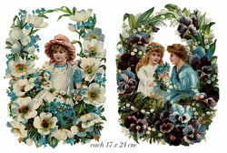 Small large scrap victorian poeple in guirlande