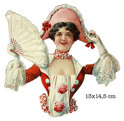 Small large scrap card lady with fan and hat