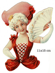 Small large scraps card lady with fan