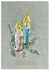 Small postcard haco 0349 two candles