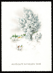 Small postcard haco 0371 a winter landscape birds