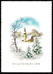 Small postcard haco 0371 winter landscape rural church