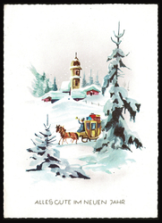 Small postcard haco 0373 carriage winter church