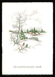 Small postcard haco 0441 a winter landscape birds