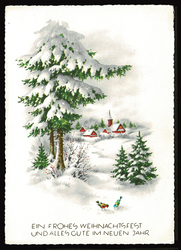 Small postcard haco 0441 b winter landscape birds