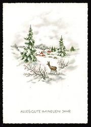 Small postcard haco 0442 a rural winter deer