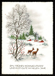 Small postcard haco 0442 b rural winter deers