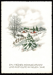 Small postcard haco 0443 landscape winter fence houses rural