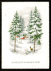 Small postcard haco 0444 a rural winter deers