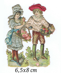 Small silk scraps boy and girl with flowerbaskets