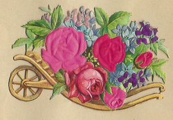 Small silk scraps flowers in wheelbarrows 24