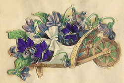 Small silk scraps flowers in wheelbarrows 42.1913