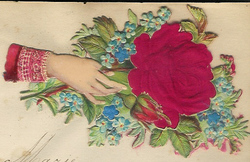 Small silk scraps hand and flowers 100 1887