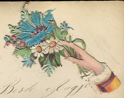 Small silk scraps hand and flowers 3 1891