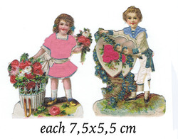 Small silk scraps victorian valentine boy and girl