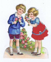 Small silk scraps boy & girl with flowers